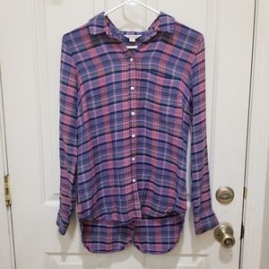 Lucky Brand Pink and Blue Plaid Flannel